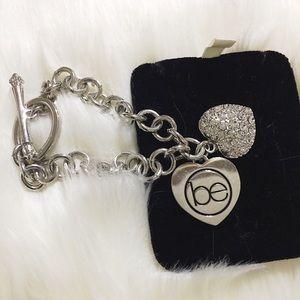 "BeautiControl Silver Crystal Heart ""be"" Bracelet"